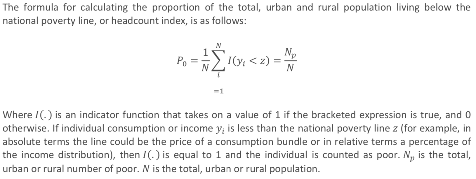 formula for calculating the proportion of the total, urban and rural population living below the national poverty line, or headcount index